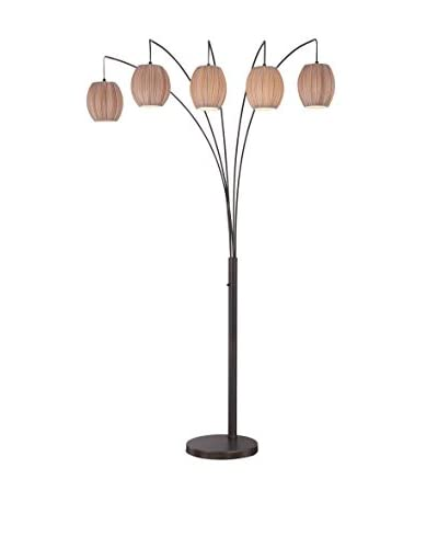 Lite Source Kaden 5-Light Floor Lamp, Copper Bronze/Light Brown