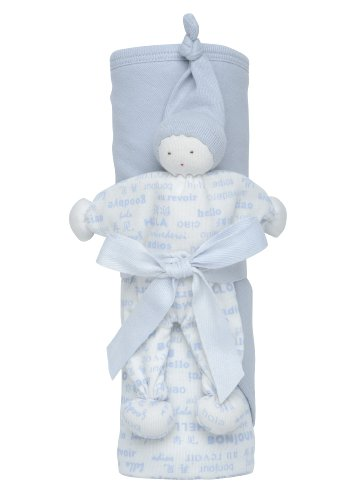 Under The Nile Hooded Blanket Toy Gift Set Hello, Blue