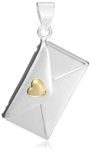 Silver Envelope with Gold Plated Heart Pendant