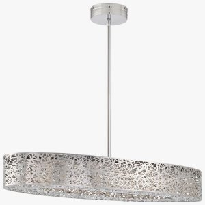 "Kovacs P987-077-L 1 Light 1 Tier 31.5"" Length Led Linear Chandelier From The Hid, Chrome"