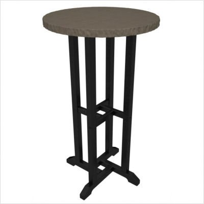 """Polywood Tuscan 24"""" Round Faux Granite Bar Height Table in Black / Lynx"""