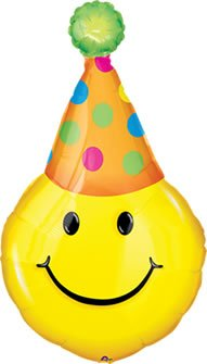 "Yellow Smiley Party Hat 39"" Mylar Balloon Decoration"
