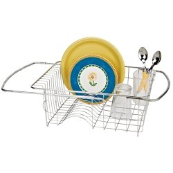 Adjustable Over Sink Dish Drainer in Stainless Steel
