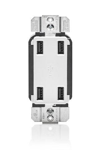Leviton Usb4P-W 4.2-Amp High Speed 4-Port Usb Charger, White