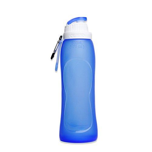 HAMSWAN KEAN 500mL (17OZ) 折りたたみ水筒 シリコンボトル 携帯式フック付き 半透明 無毒無臭 食品グレード 耐熱 アウトドアスポーツ(ブルー色)