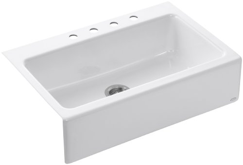 KOHLER K-6546-4-0 Dickinson Apron-Front, Tile-In Kitchen Sink, White