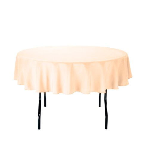 Linentablecloth Round Polyester Tablecloth, 70-Inch, Cantaloupe front-459395