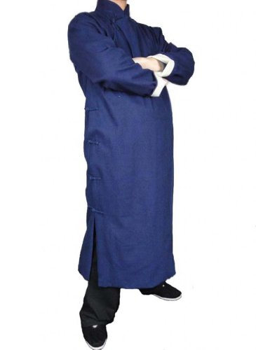 Interact China 100% Baumwolle Blau Kung Fu Kampfkunst Tai Chi Langer Mantel Robe XS