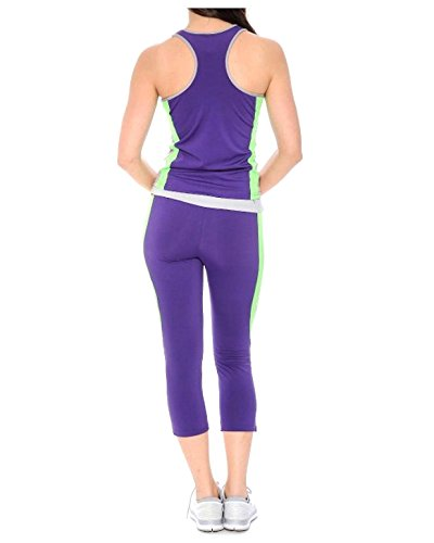 G2 Chic Women's 2PC Activewear Set - Racerback Top + Capri Pant Active Set(ACT-SET,PPL-S)