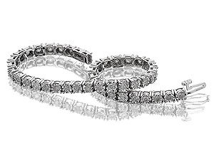 9ct White Gold 2 Carat Diamond Tennis Bracelet - 7