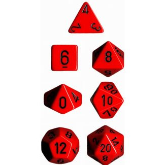 Chessex Dice: Polyhedral 7-Die Opaque Dice Set - Red With Black