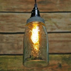 Pendant Lamp, Rustic Quart Open Bottom Mason Jar, Galvanized Metal Lid