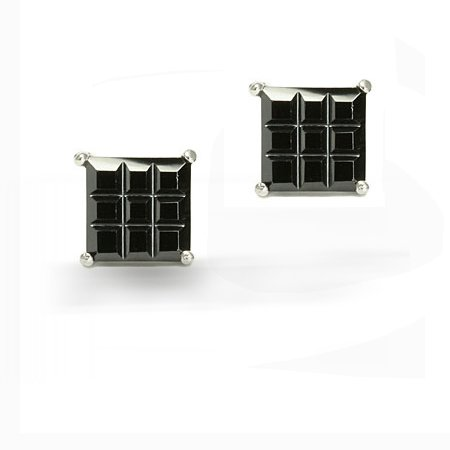 Bling Jewelry Mens Black CZ Square Invisible Cut Stud Sterling Silver Earrings 8mm