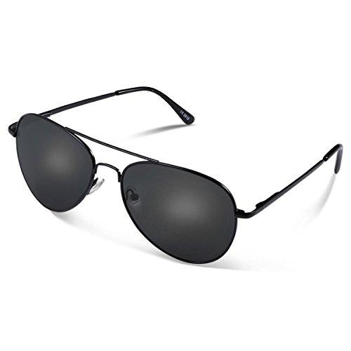 Duduma Prämie Voll Mirrored Pilotenbrille Flieger Sonnenbrille UV400 Schutz Optimal Entwurf Herren und Frauen Aviator Sonnenbrillen (Schwarze Rahmen mit Schwarze Linse)
