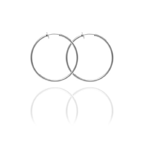 Sexy Spring Loaded Metal Tone Hoops - 4cm