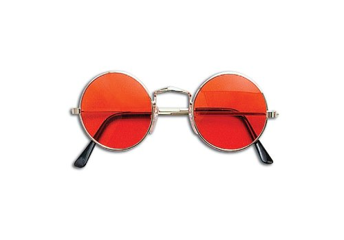 Round Orange Lens Glasses for John Lennon, Ozzy Osbourne, Hippy Dress-Up