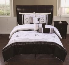 Anastacia Black & White Queen Size 7 Piece Bedding Set