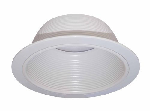 "6"" Stepped Baffle Trim With Plastic Ring For Par30/R30 Line Voltage Recessed Can Light-White"