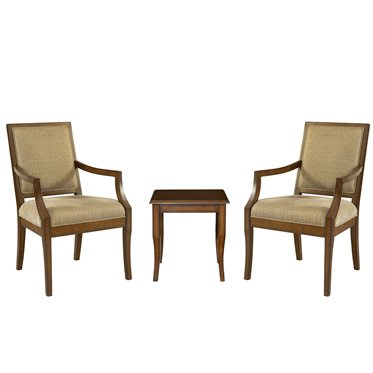 Powell Furniture 3 Piece Set - 2 Accent Chairs with 1 Light Cherry End Table