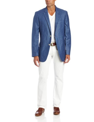Tommy Hilfiger Men's Trim Fit Side Vent Washed Linen Sport Coat, Blue Solid, 36 Regular