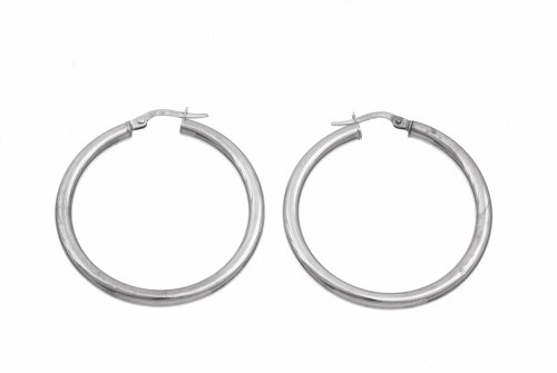 Ladies' Hoop Earrings, 9ct White Gold, Model