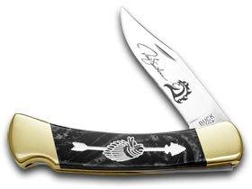 BUCK 110 Yellowhorse Custom Black Pearl Corelon Chief Arrowhead 1/100 Pocket Knife