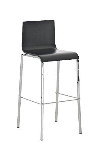CLP-moderner-Barhocker-AVOLA-mit-Holzsitz-Metall-in-Chromoptik-Sitzhhe-76-cm-einfach-bequem-sitzen-aus-bis-zu-2-Farben-whlen-schwarz-matt