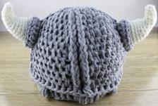 ベビーキャップ バイキング帽子 ウール素材 手編 牛角帽