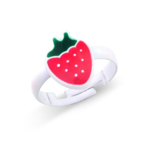 Pink strawberry pendant ring (adjustable) - children's fashion ring matching necklace and earrings available - includes pretty pink gift bag