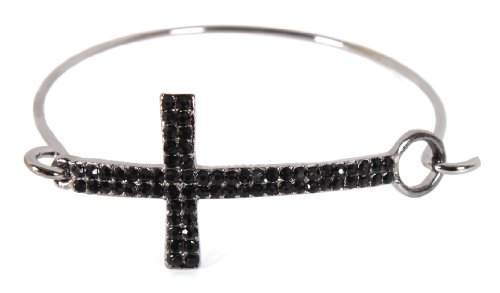 Black with Jet Black Iced Out Cross Bangle Bracelet