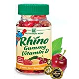 Nutrition Now Rhino Gummy Bear Vitamin D Dietary Supplement 60 Chewable Tablets