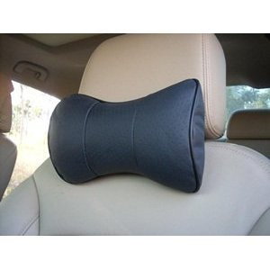 Cosmos ® 2 PCS Black Leather Dog Bone Shape Car Neck Pillow/cushion with Cosmos Fastening Strap (Neck Pillow For Car compare prices)