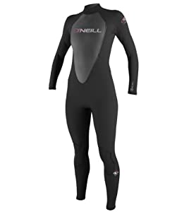 O'Neill Wetsuits Women's Reactor 3/2mm Full Suit, Black, 8