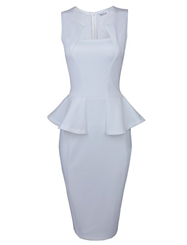 Tom'S Ware Womens Classy Neck Detail Sleeveless Zip-Up Midi Dress Twlc6150-White-Us L