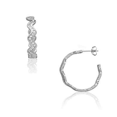 Fad and Trendy Jewelry Earrings 925 Sterling Silver Wavy with Clear CZ Circle Hoop Design(WoW !With Purchase Over $50 Receive A Marcrame Bracelet Free)