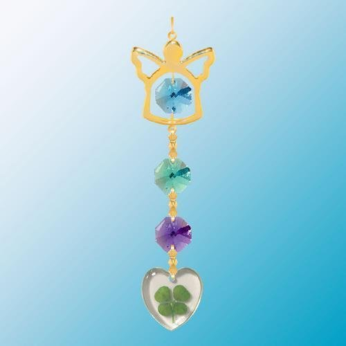 24K Gold Plated Hanging Sun Catcher Or Ornament..... Angel Icon Hanging Charm With Heart Shaped Four Leaf Clover & Blue Swarovski Austrian Crystals front-1041813