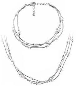 Multi Pearl Triple Chain Bracelet & Necklace Set