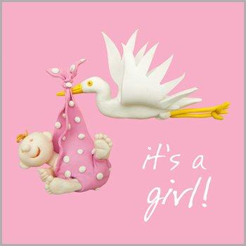Fax Potato Greeting Card - Stork baby girl - For birthday, Christmas, Anniversary, Christening, Graduation, Maternity, New Job, Retirement, New Home, Congratulations