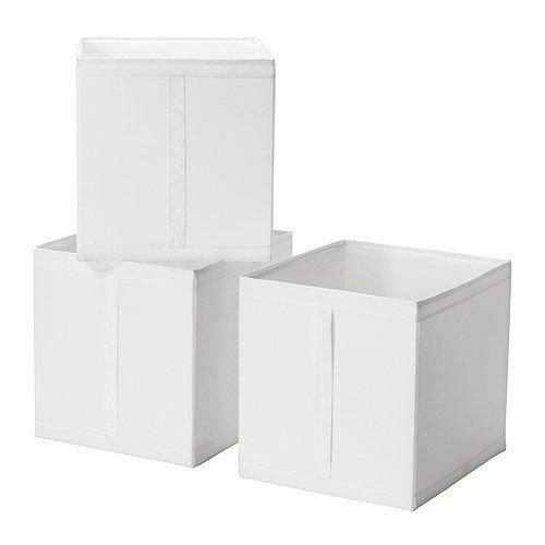 IKEA-3-er-Set-Regalfach-Skubb-drei-Aufbewahrungsboxen-Regaleinstze-in-31x34x33-cm-BxTxH-WEISS