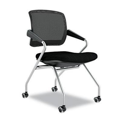 Mayline TSM2BB - Valor Series Mid-Back Nesting Chair, Mesh/Fabric, Black, 2/Carton Mayline Comfort Flip Arm