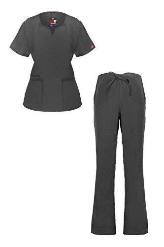 MediFit Women's Solid Scoop Neck Two Pocket Medical Top & Pants Scrub Set(SET-MED,DGY-2XL)