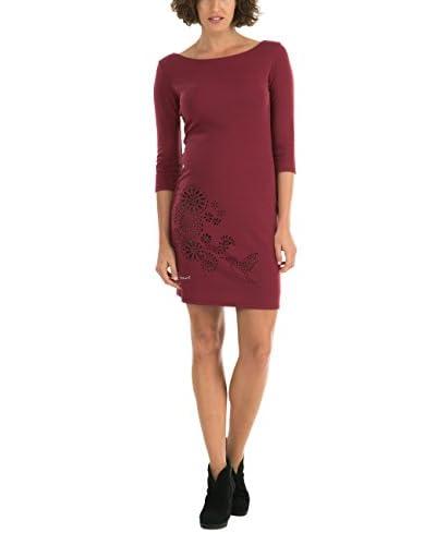 Desigual Amaryllis – Robe – Tunique – Imprimé – Manches longues – Femme – Rouge (Carmin) – FR: 42 (