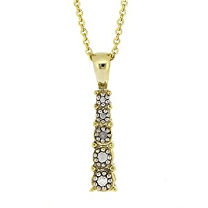 Gold Tone over Sterling Silver Graduating Diamond Accent Journey Pendant