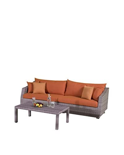 RST Brands Cannes 2-Piece Sofa & Coffee Table Set, Orange