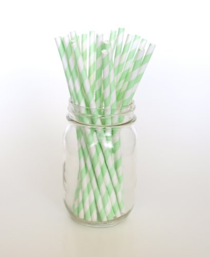 Mint Green Party Straws - 25 Pack - Light Green Paper Drinking Straws, Mint Green Striped Straws