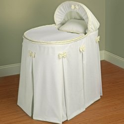 Perfectly Pretty Ivory Bassinet Liner/Skirt and Hood - Size: 13x29