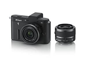 Nikon 1 V1 10.1 MP HD Digital Camera System with 10mm and 10-30mm VR 1 NIKKOR Lenses (Black)