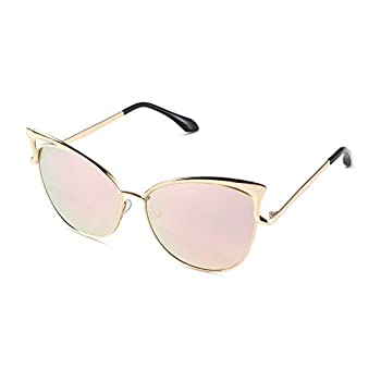 Sunny&Love Women Oversized Cat Eye Sunglasses Mirror Eyewear With Case