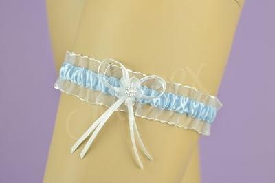 Strumpfband hellblau / weiß