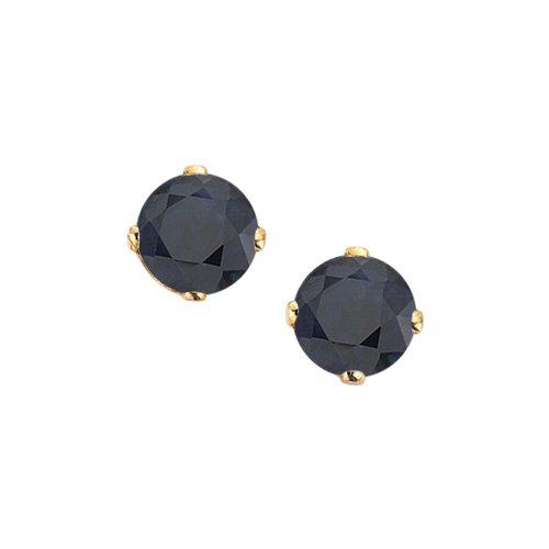 14K Yellow Gold Prong Set 3 MM Sapphire Earring Studs